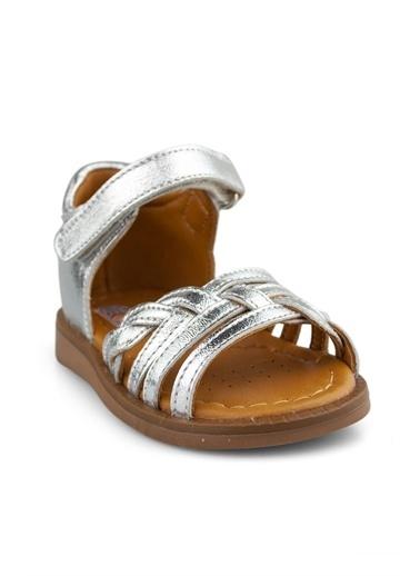 Cici Bebe Ayakkabı Cicibebe Deri Örgü Desenli Arkası Kapalı Aynalı Kız Çocuk Sandalet Gümüş
